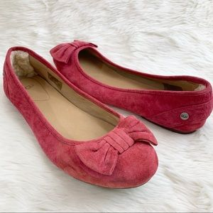UGG Rohen Wine Red Suede Bow Ballet Flats